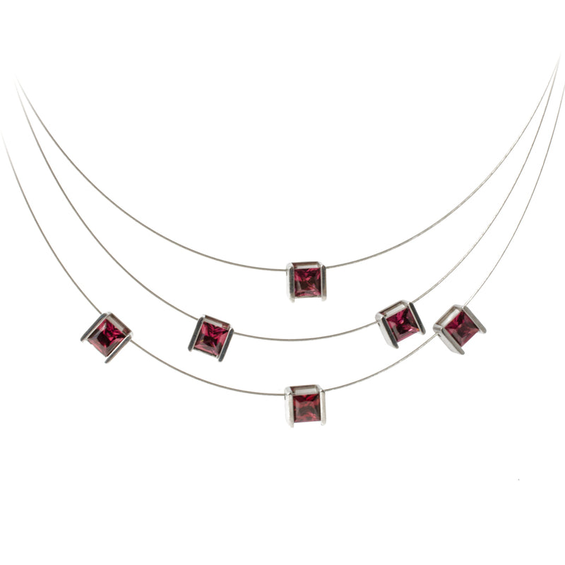 modern garnet necklace stainless steel