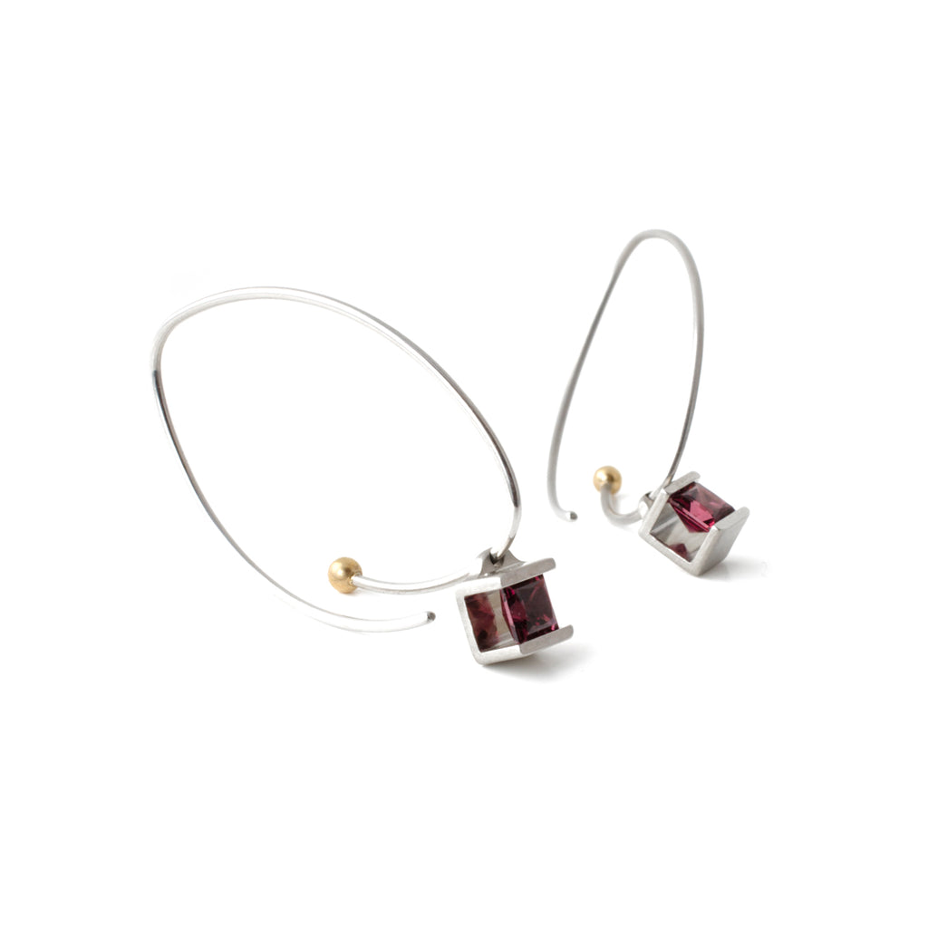 Garnet Cube Earrings