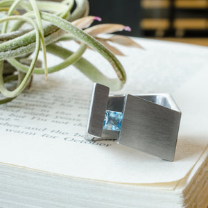 stainless steel modern topaz ring