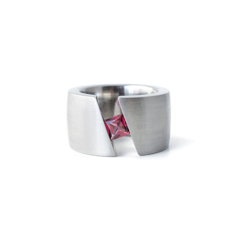 modern garnet ring stainless steel
