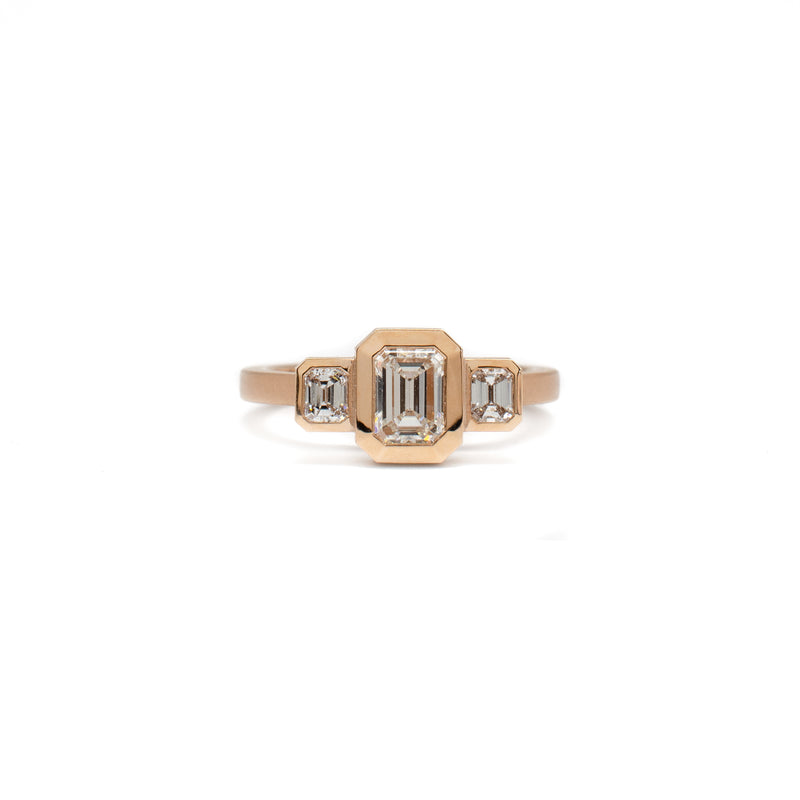 3 Stone Bezel Ring (Emerald Cut)