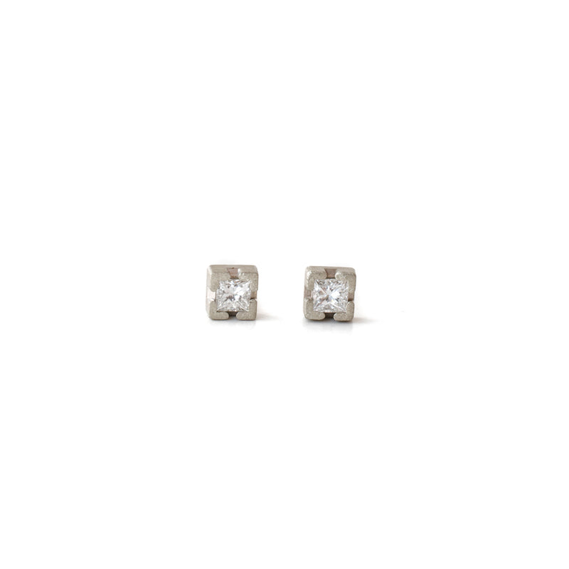Princess cut stud earrings white gold