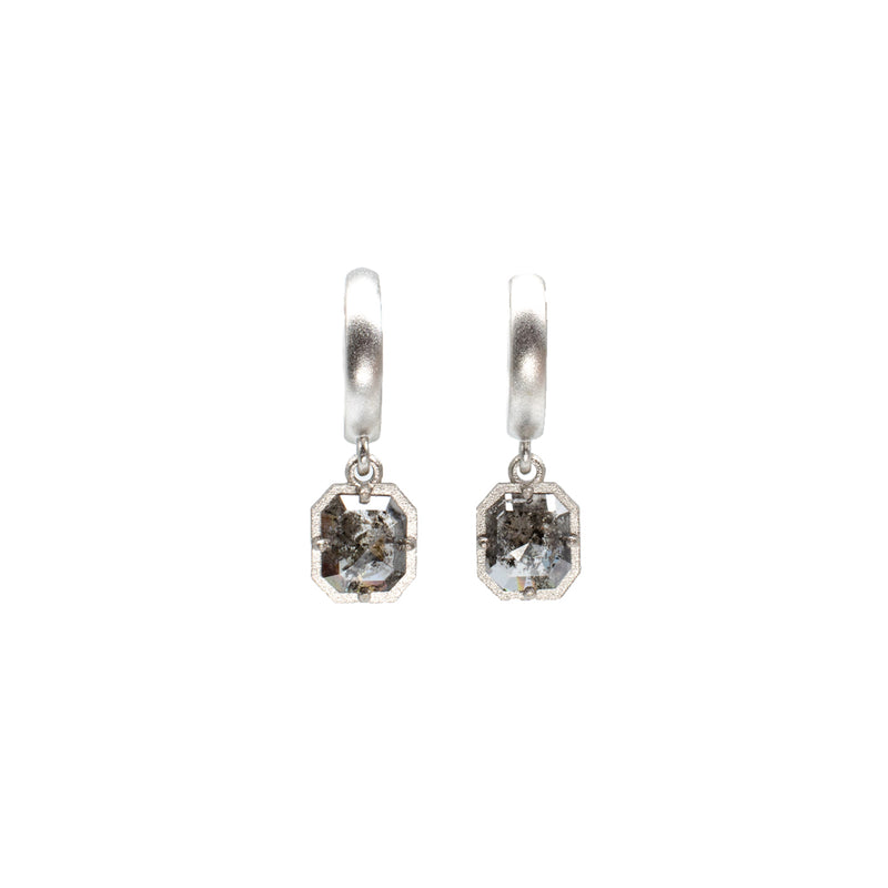 F Bezel Salt & Pepper Earrings