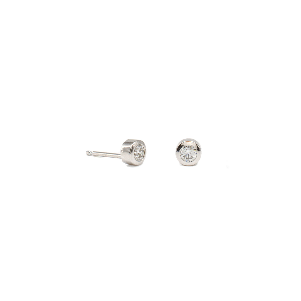 Bitty Bezel Studs White