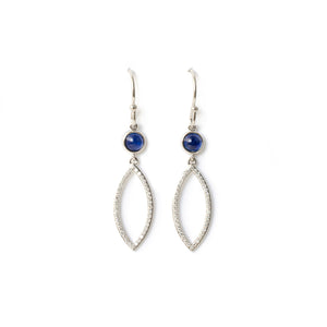 Diamond & Sapphire Leaf Earrings