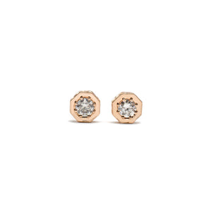 Engraved Diamond Hex Studs Rose