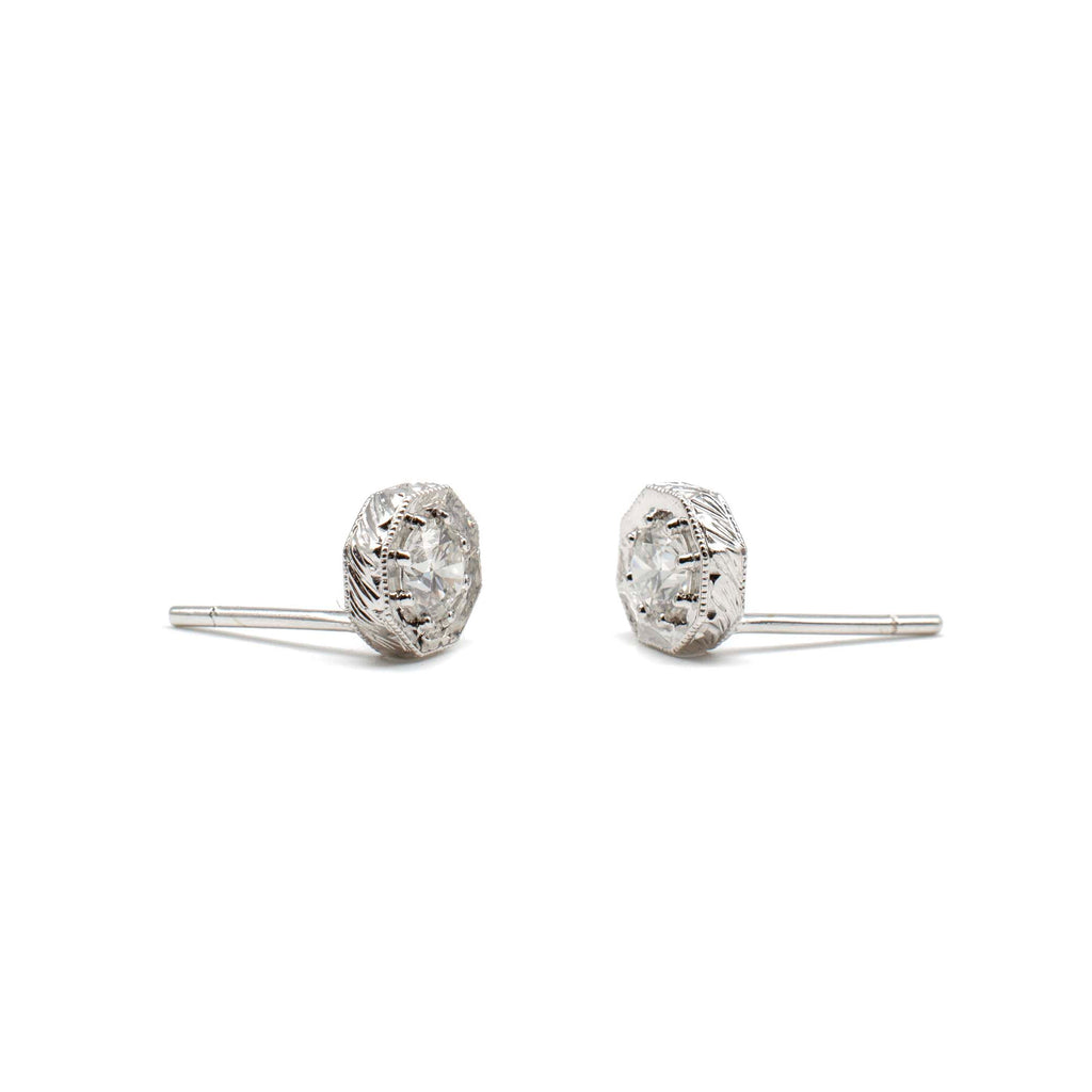 Engraved Diamond Hex Studs White