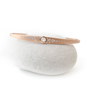 Rose Gold Rustic Diamond Pattern Cuff Bracelet