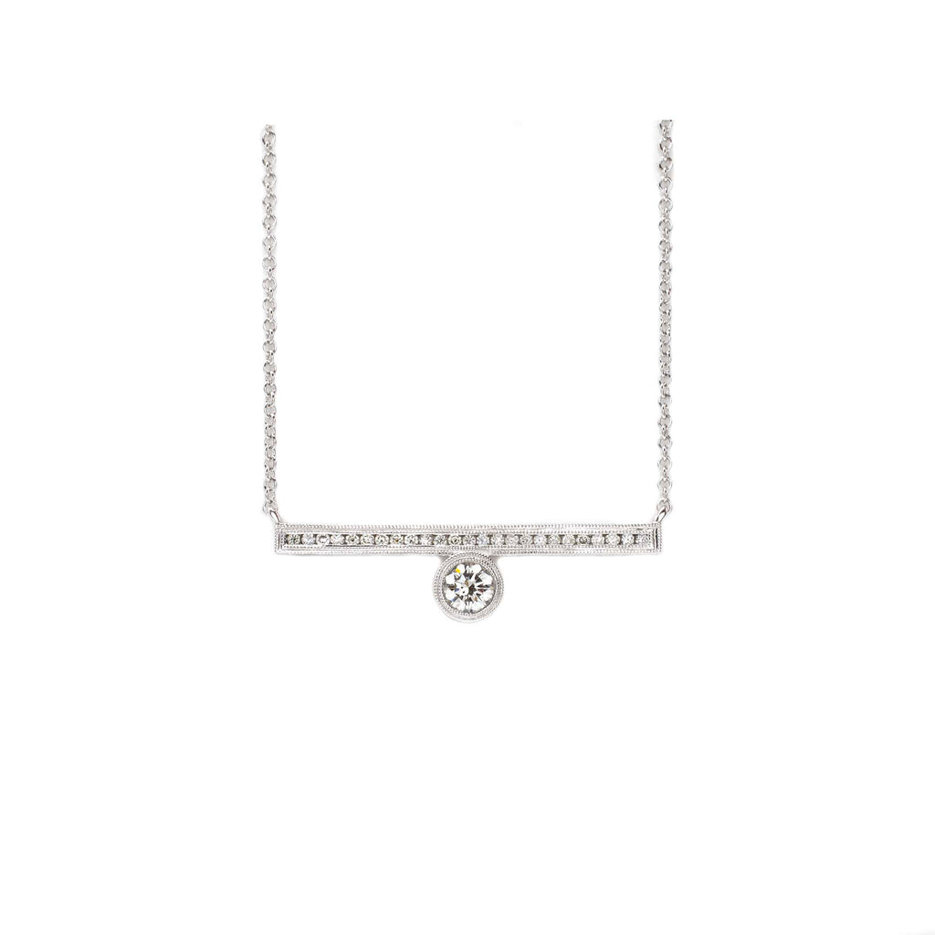 Offset Engraved Bar Necklace White