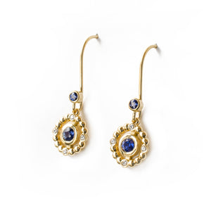 Sapphire Orb Halo Earrings