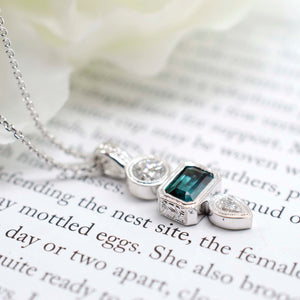 Engraved Trio Pendant (Tourmaline)