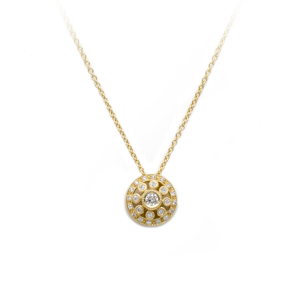 Yellow Gold Vintage Circles Diamond Pendant