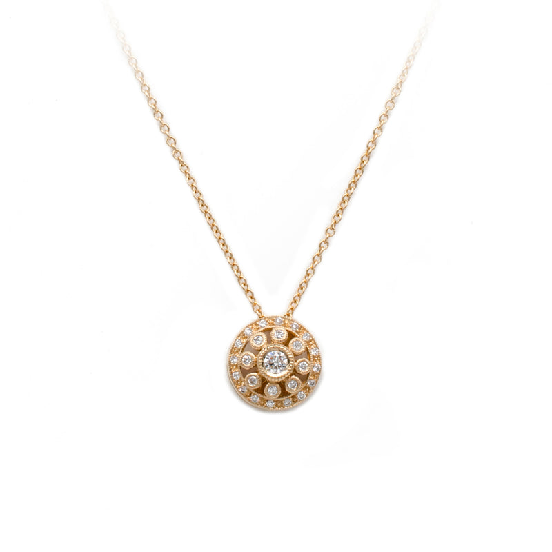 Rose Gold Vintage Circles Diamond Pendant