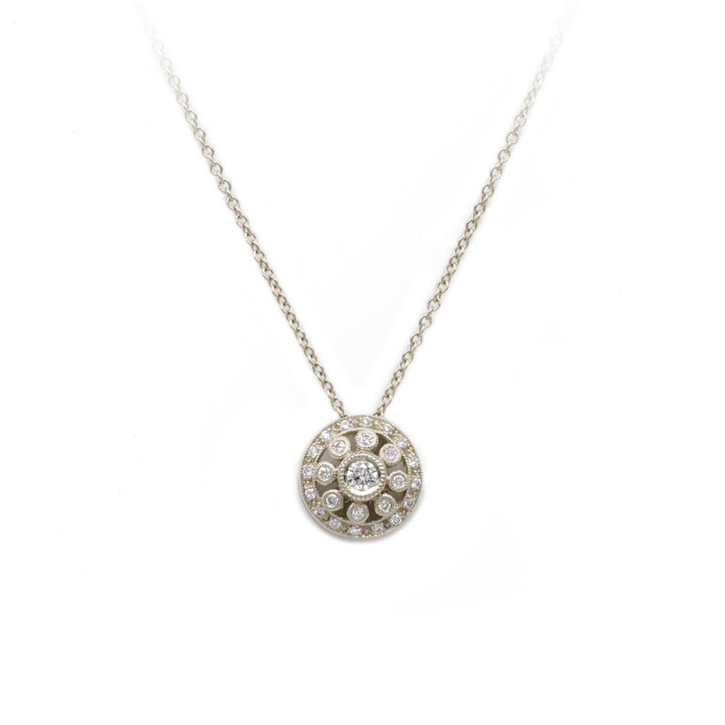 White Gold Vintage Circles Diamond Pendant