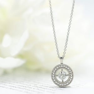 White Halo Diamond Pendant