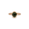 Bezel Cathedral Hammered Ring with Green Sapphire