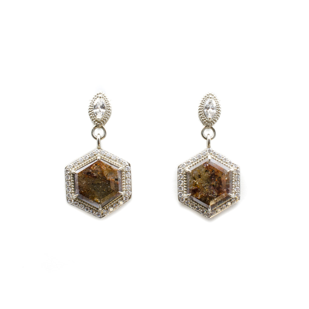 Diamond Hex Slice Earrings
