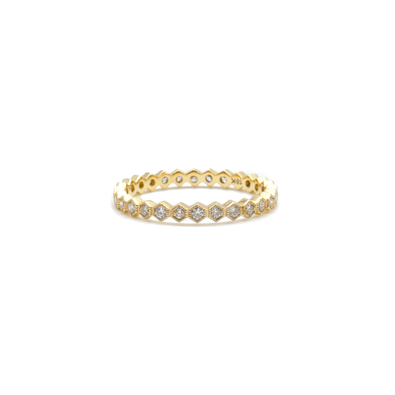 Yellow Gold Honeycomb Ring