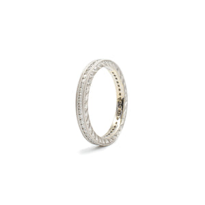 White Gold Double Row Milgrain Band