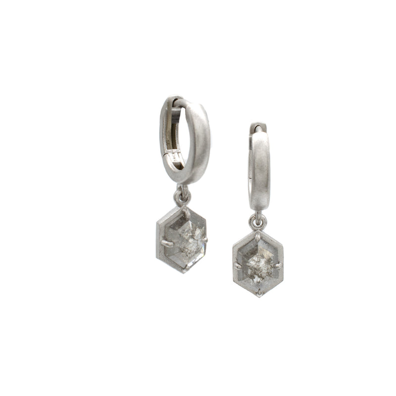F Bezel Salt & Pepper Hex Earrings