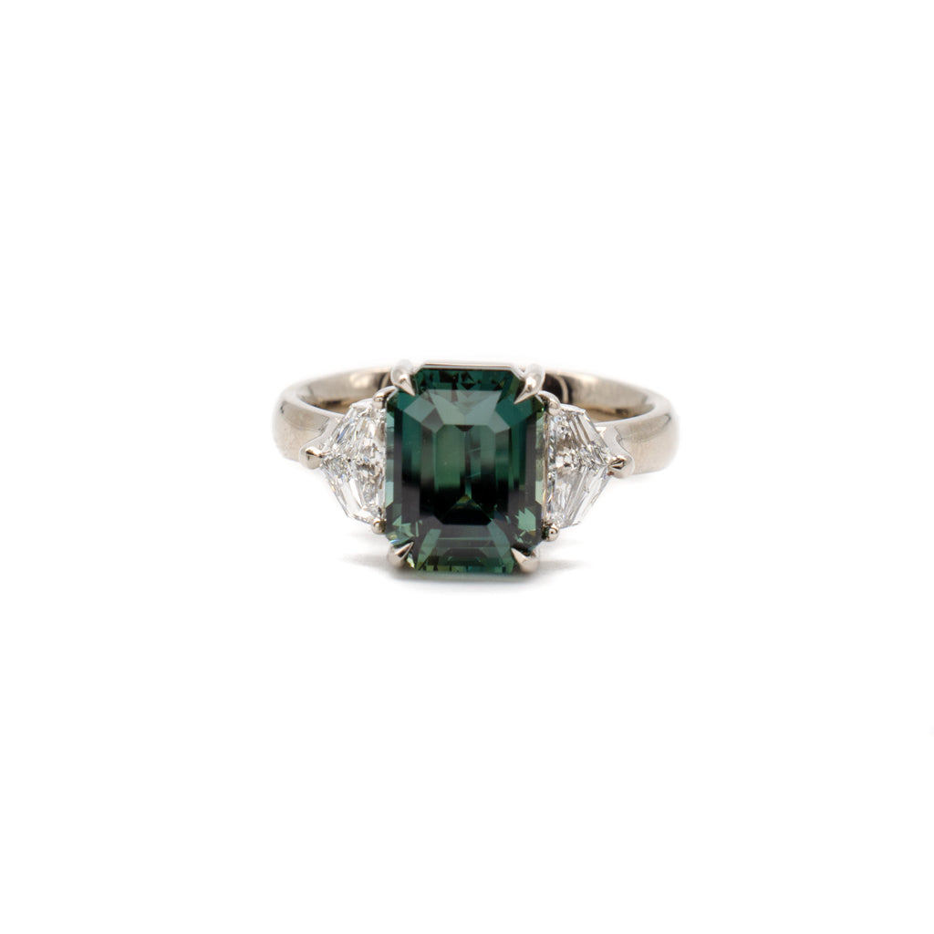 3 Stone Teal Sapphire Ring