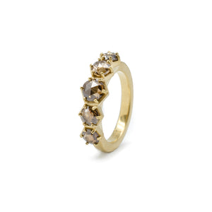 Rose cut diamond honeycomb ring