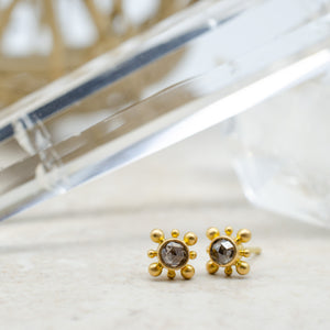 Tiny Rustic Diamond Studs