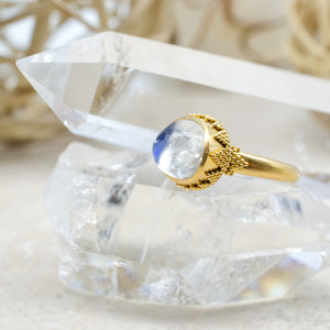 Small Blue Moonstone Ring