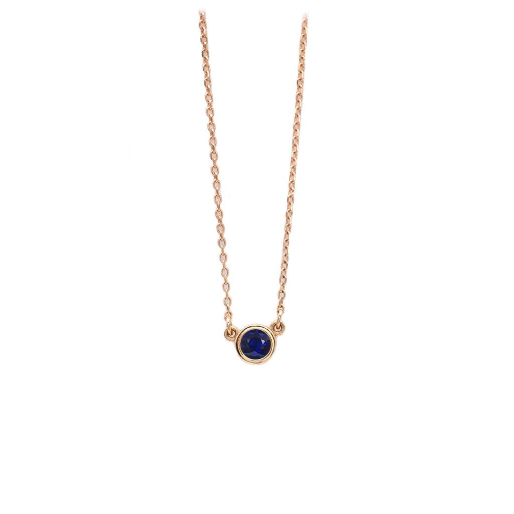 4mm Sapphire Everyday Necklace in Rose