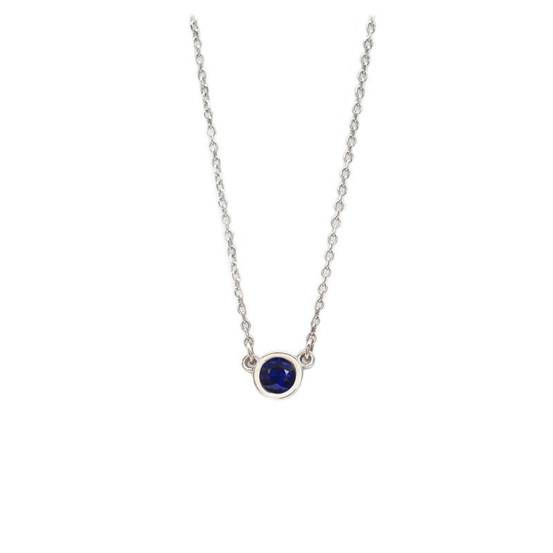 4mm Sapphire Everyday Necklace in White