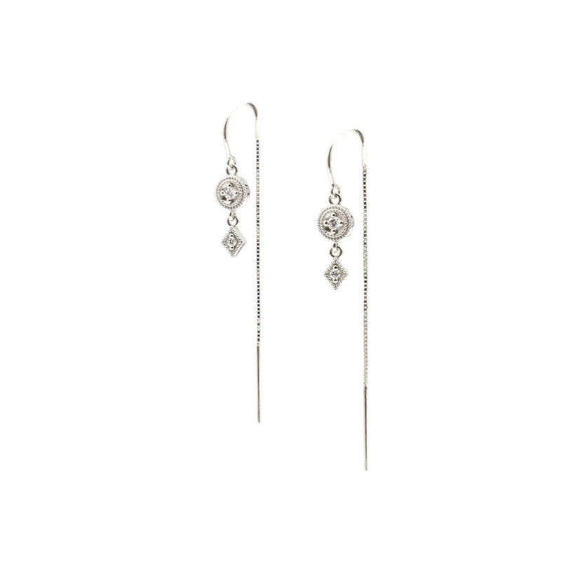 White Gold Threader Earrings