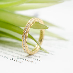Yellow Gold Double Row Milgrain Band