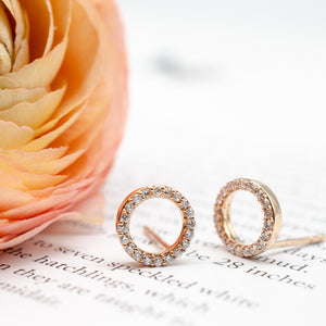 Rose Gold Diamond Circle Studs