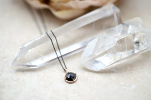 F Bezel Black Diamond Pendant