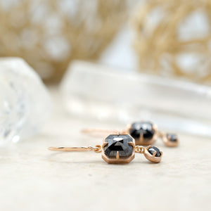 F Bezel Duo Dangles Rose
