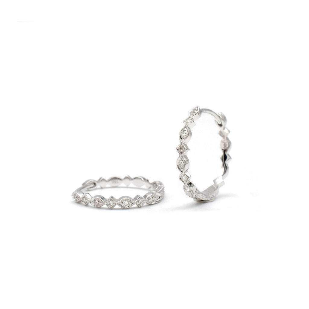 Marquise and Square Hoops White