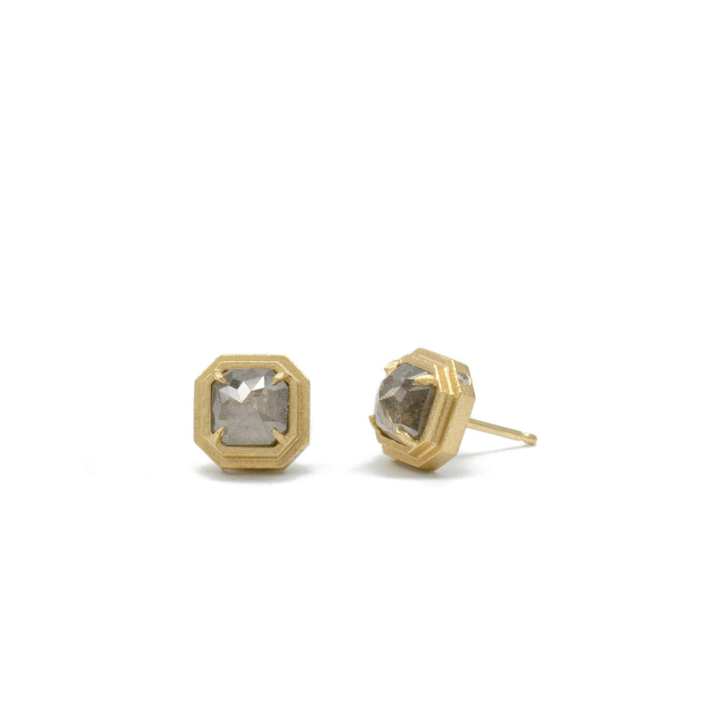Slim Line Grey Diamond Studs