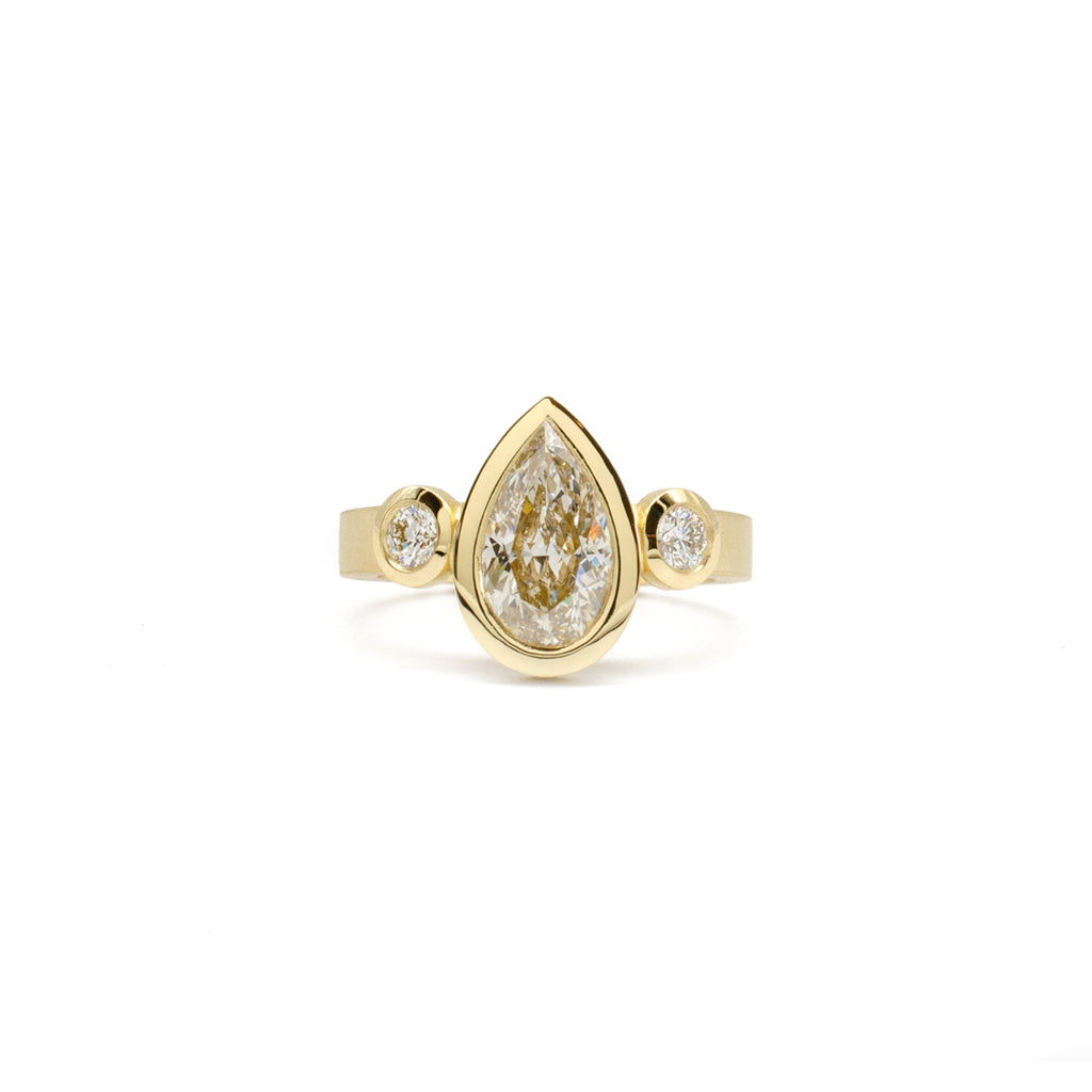 Three Stone Pear Ring
