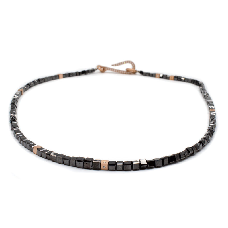Slim Line Black Diamond Bead Necklace