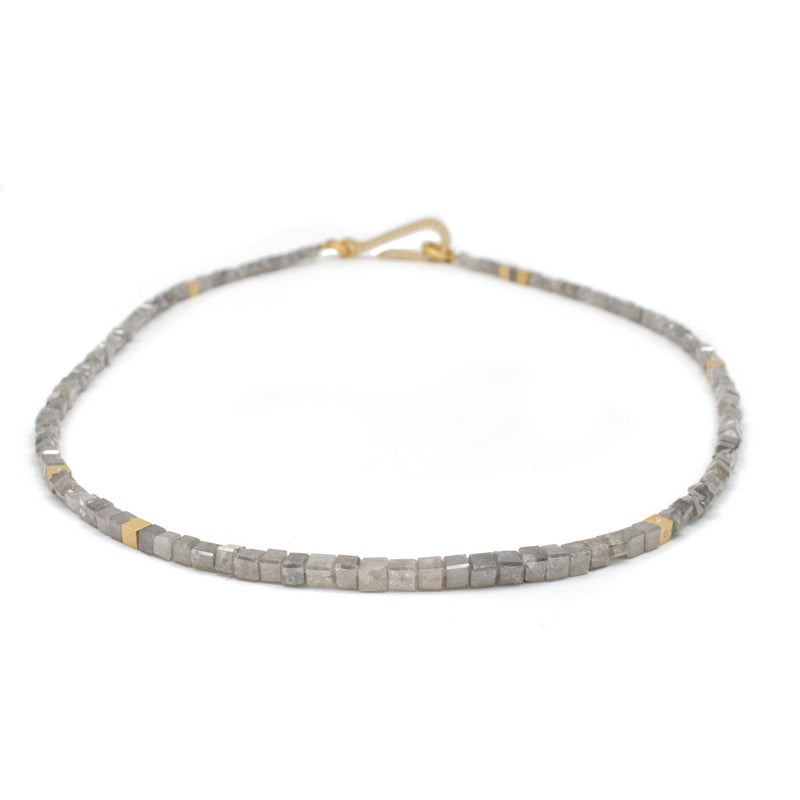 Slim Line Grey Diamond Bead Necklace