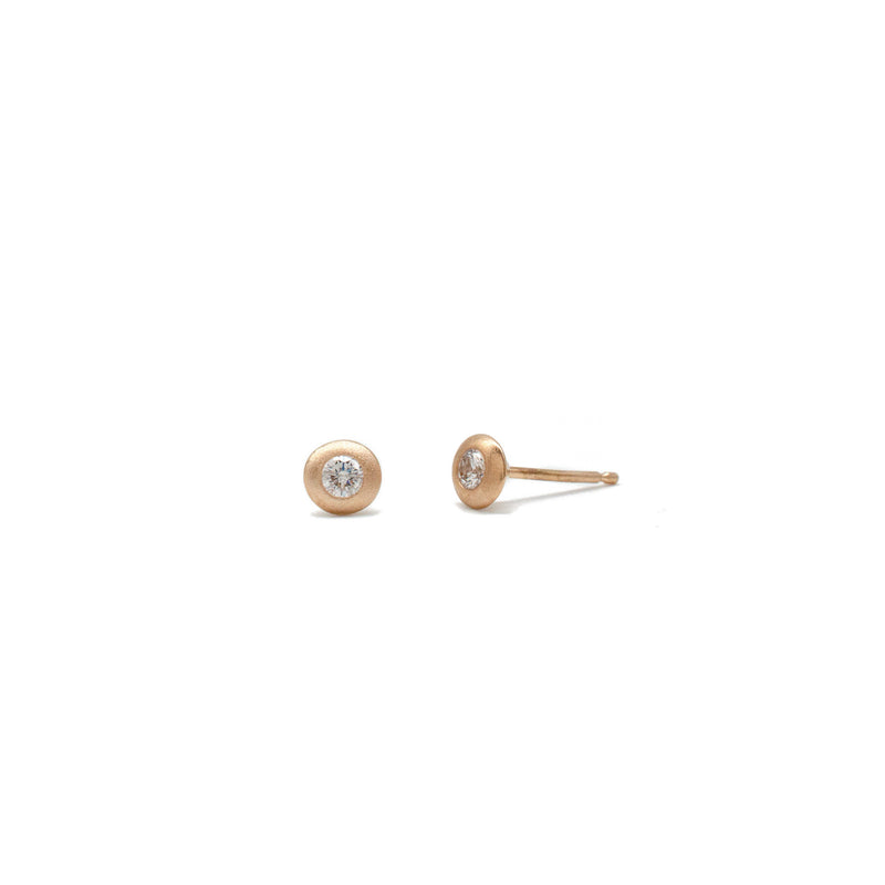 Saucer Studs in Rose Gold