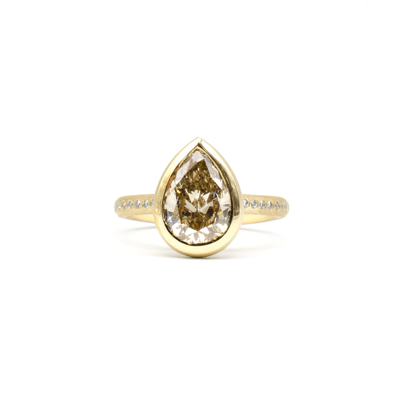 Pear Diamond Bezel Ring