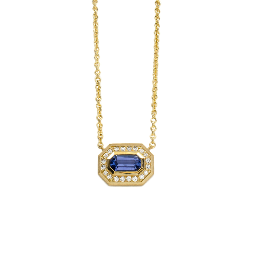 Step Cut Sapphire Halo Necklace