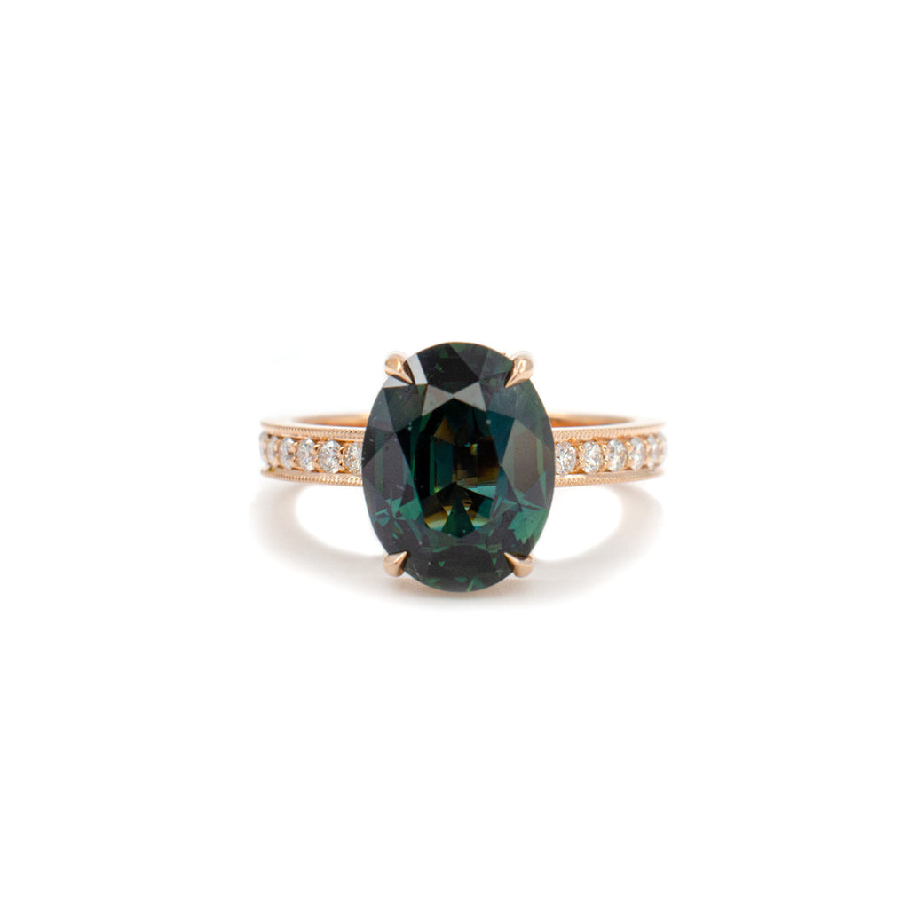 Hidden Halo ring with Teal Sapphire