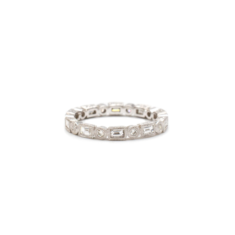 .59ctw Baguette & Round Band in White