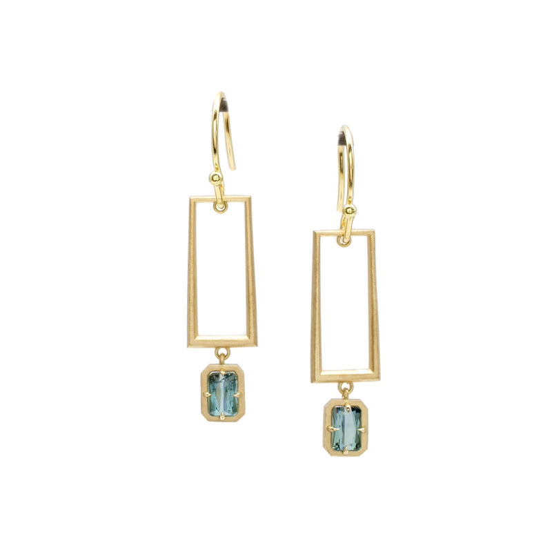 Teal Tourmaline Double Dangles