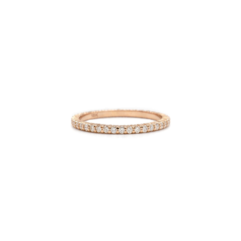 Tiny Shared Prong Ring in Rose