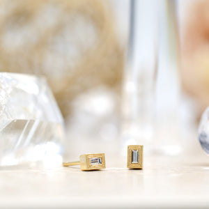Gold Double Milgrain Studs (Emerald Cut)