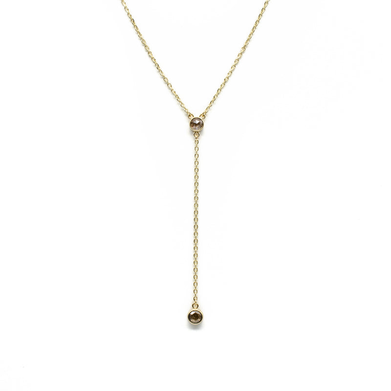 Rose Cut Diamond Lariat Necklace