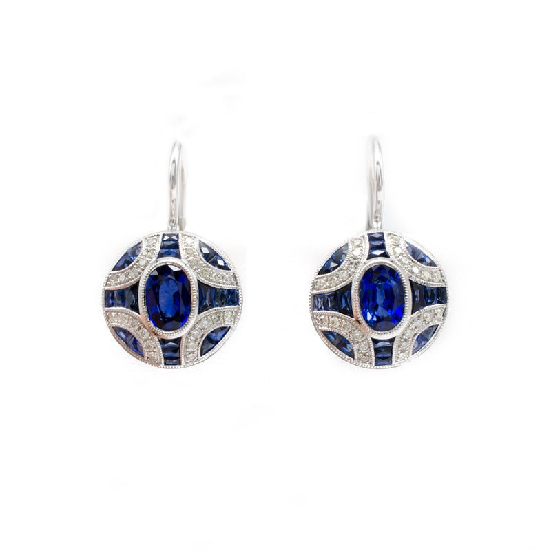 Sapphire Deco Style Earrings